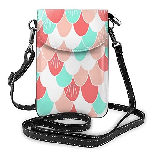 Premium PU Leder Umhängetasche Handy Geldbörse,Leichte Mini Smartphone Tasche mit verstellbarem Schultergurt,Schöner Hummer Schöne Bunte Meerjungfrau Waage
