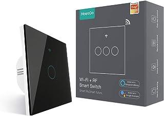MoesGo interruttore smart WiFi RF433 touch da parete, non richiede neutro, 1 via interruttore intelligente compatibile con...