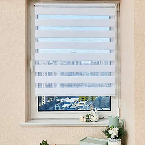 Vkele Doppelrollo Duo Rollo Klemmfix ohne Bohren, Rollos für Fenster lichtdurchlässig & Sichtschutz, Vario Seitenzug Zebrarollo mit Bohren Wandmontage (Weiß, B55cm x H150cm)