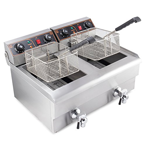 ARKSEN 1500W Stainless Steel Portable 20 Liter Dual Tank Electric Deep Fryer Fries, UL Listed