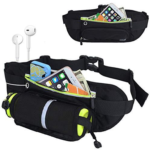 FeiLuo Laufgürtel für Trinkflasche, Wasserdicht Gürteltasche mit Reflektierendes Band Kopfhörerloch und Handyfach, Sports Hüfttasche Trinkgürtel für Fitness, Camping, Wandern, Radfahren, Yoga, Schwarz