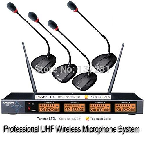 PANMARI Top Boutique Takstar X4 UHF profesional / PLL 4 canales de micrófono inalámbrico Conferencia de cuello de cisne del sistema de micrófono inalámbrico