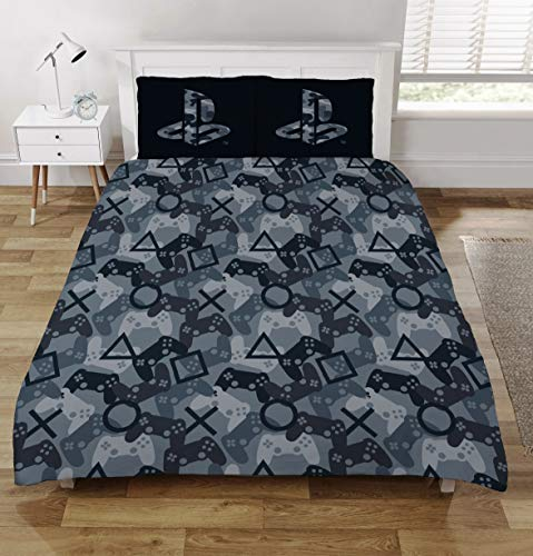 CnA Stores Sony Playstation Double Duvet Cover Bedding Set Black and Grey Camouflage