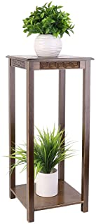 UNHO 2 Tier Plant Pot Stand, Bamboo Shelving Unit Plant Shelf Indoor Flower Pot Holder 25x25x75CM