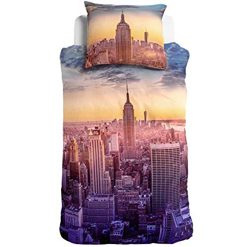 3D Digitaldruck Bettwäsche Empire State Building New York Skyline Hochhäuser Amerika USA Orange Renforcé, Größe:135 cm x 200 cm