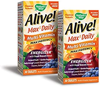 Nature's Way Alive! Premium Max3 Daily Multi-Vitamin Energizer with Food Based Blends, No Added Iron, 30 Count (2 Pack)