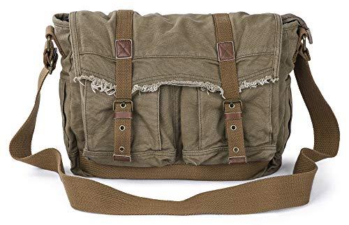 Gootium Canvas Messenger Bag - Vintage Shoulder Bag Frayed Style Satchel, Green
