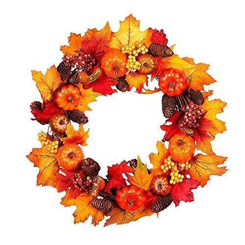 AXROAD MALL Pumpkin Pine Cone Herbst-Farbe Rattan Kreis for Halloween und Thanksgiving-Heim Innen-oder Außenstellung Dekoration