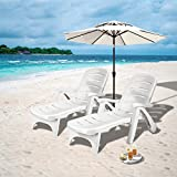 <span class='highlight'><span class='highlight'>COSTWAY</span></span> Folding Sunlounger with Wheels, 5-Position Adjustable Outdoor Deck Chair Furniture, Garden Beach Patio Pool Lounger Recliner Seat (White, Pair)