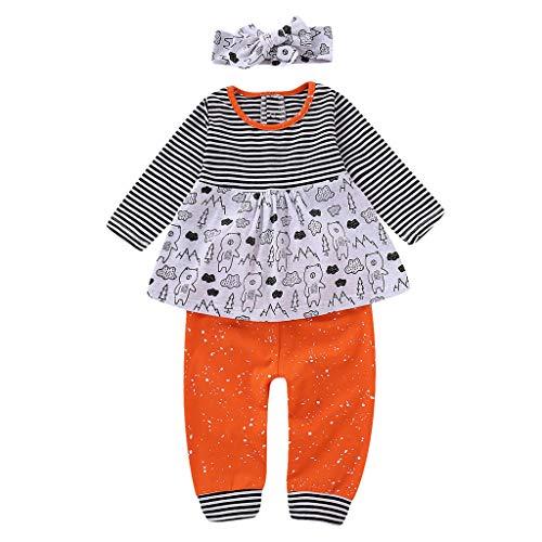 (0-24M) Ensemble bébé et Enfant en Bas âge,Bébé rayé Cartoon Animal Manches Longues Haut Robe + Pantalon + Bande de Cheveux