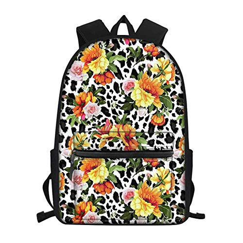 Stylish College High Middle School Backpacks for Girls Women Small Bag Rucksack Dayapck Leopard Orange Flower