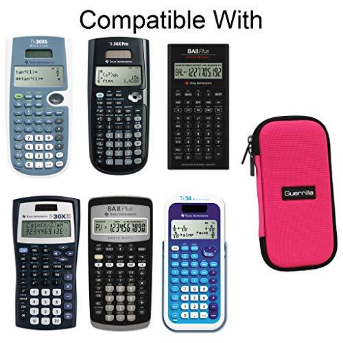 Guerrilla Hard Travel Case for TI-30X llS, TI BA ll Plus, TI-34 Multi View, TI-36X Pro, TI BA ll Plus Professional, and TI-30XS multi view Calculators, Pink Photo #4