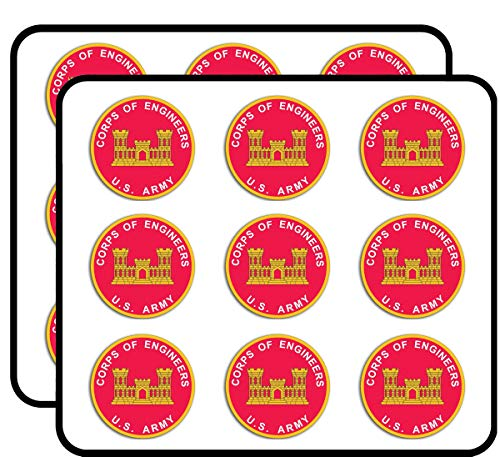 Round U.S. Army Corps of Engineers - Castle Logo Insignia Sticker for Scrapbooking, Calendars, Arts, Album, Bullet Journals 2' 18 Pack