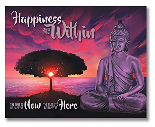 Happiness Comes From Within - Inspirational Buddha Wall Art - Unframed - 8x10 - Gandhi Quote, Mindfulness Poster, Zen Decor, Spiritual Gift (8x10)