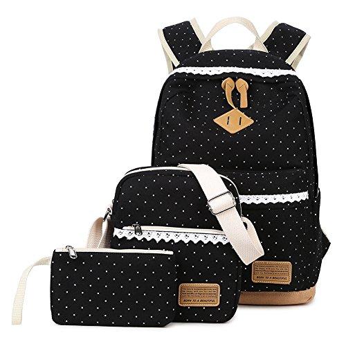 Abshoo Polka Dot Backpacks For Girls Canvas School Bookbags Teen Backpacks Set (Black)