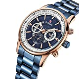 Relojes para Hombre Cronógrafo Reloj de Cuarzo analógico con Fecha Impermeable de Acero Inoxidable -C