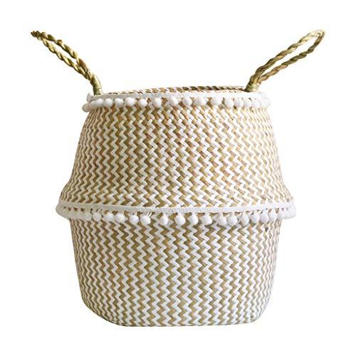 Printasaurus Seagrass Wicker Basket Flower Pot Folding Basket Dirty Basket Storage Decoration Home & Garden Patio, Lawn & Garden