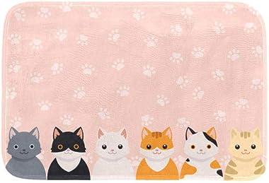 EGGDIOQ Doormats Cats and Cat Claws Custom Print Bathroom Mat Waterproof Fabric Kitchen Entrance Rug, 23.6 x 15.7in