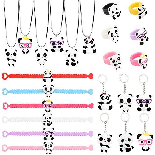 Konsait 24pcs Panda Party Supplies, Panda Necklaces, Panda Key Chains,Panda Rings, Panda Bracelets for Kids Birthday Gift Ideas Accessories Panda Party Favors Boys Party Bags Fillers