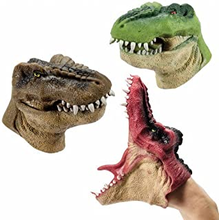 Big Game Toys~(Set of 3 Dino Hand Puppets with BGT Tote Bag Chomping T-Rex Velociraptor Dinosaur Jurassic Park
