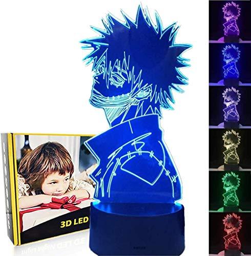 My Hero Academia Dabi 3D Lámpara de ilusión óptica 3D Luz nocturna 3D 16 colores y control remoto táctil – mesa de noche iluminación regalos juguetes de niñas niño niños para cumpleaños