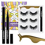 20mm Lashes with Eyeliner Kit, Upgrade Self-Adhesive Lashliner System, Reusable Dramatic Eyelashes 3 Pairs, No Magnets and Glue Free