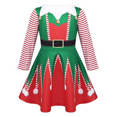 Freebily Disfraz Elfa Duende Niñas de Fiesta Navidad Vestido Princesa Manga Larga Rayada Vestido Corto de Ceremonia Bautizo Niñas Verde&Rojo B 5-6 Años