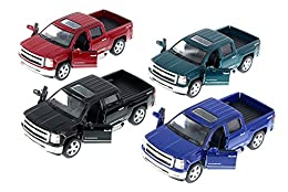 "Set of Four 1/46 Scale cars made by Kinsmart! Includes the following colors: BLACK, BLUE, GREEN, RED 5381D Kinsmart - 2014 Silverado Pick-up Truck 1:46 scale diecast collectible model car This Chevy Silverado is a 5""L x 2""W x 1.75""H diecast metal car..."
