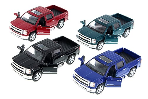 KiNSMART 2014 Chevy Silverado Pick-up Truck, Set of 4 5381D - 1/46 Scale Diecast Model Toy Cars