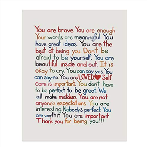 'You Are Enough-Loved-Important'- Inspirational Wall Art Print- 8 x 10' Ready to Frame. Motivational Wall Art-Home Décor- Office Décor. Perfect For Building Confidence in Children, Friends & Graduates