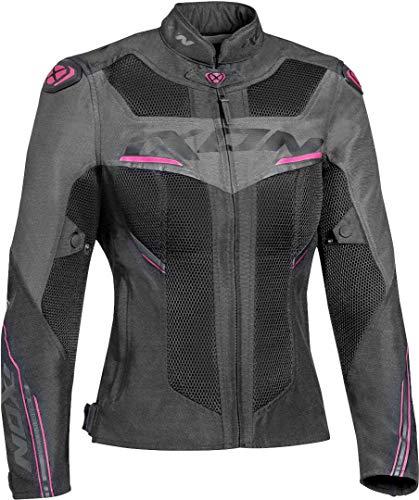 Ixon - Chaqueta de moto Draco para mujer, color negro antracita, fucsia, XS