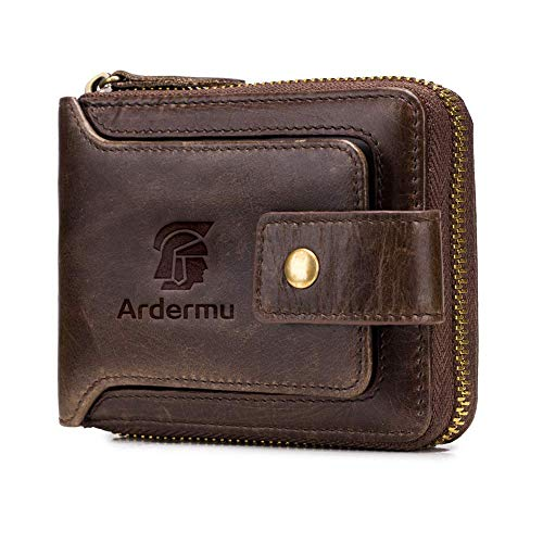Men's Genuine Leather Wallet - Large Capacity ID Window Card Case with Zip Coin Pocket Short Purse
