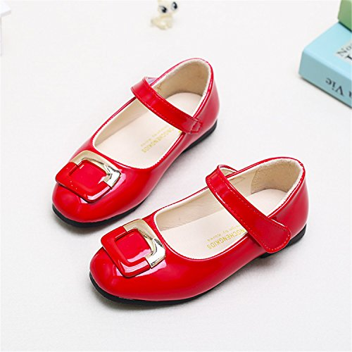 Princess Girls Slip-On Casual Sneakers Princess Leather Shoes Children Kids Ballet Flats Red 10.5