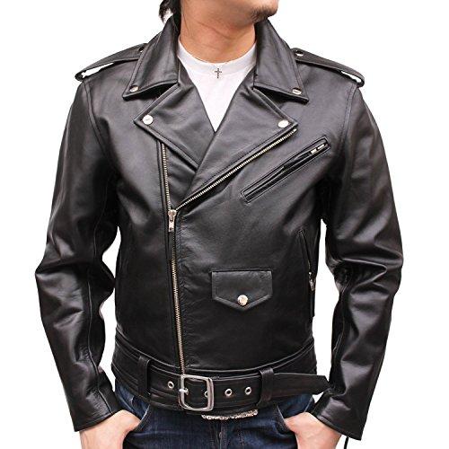 本革 ライダースジャケット メンズ レザージャケット アメリカンタイプ USタイプ 革ジャン mlrj003 (LL, 水牛革(バッファロー革))