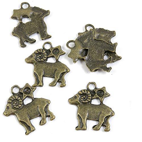 Abalorios de joyería de tono bronce antiguo O04910 Aries etiqueta de oveja para manualidades y manualidades antique bronze