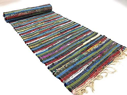 Second Nature recycelte Baumwolle indischen Chindi Flickenteppich Läufer Multi Farbe 60cm x 245cm