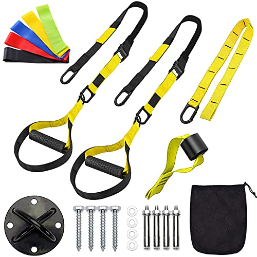 Sfeexun Bodyweight Resistance Training Straps, Suspension Training System, Full Body Workouts Trainer Kit for Home Travel Outdoors, Included Door Anchor Wall Anchor 5 Exercise Bands (Yellow)