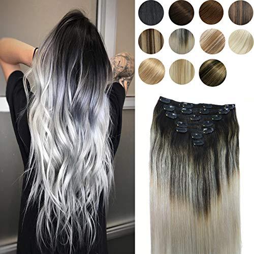 10A Grade Clip In Hair Extensions Human Hair Ombre Hair Natural Black Fading to Silver Gray Brazilian Hair 120g 7pcs Per Set Remy Hair Full Head Silky Straight Human Hair Clip In Extensions 22In