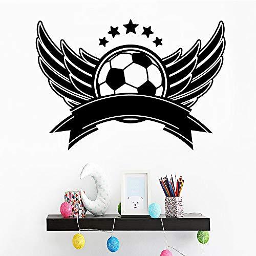 Pegatinas de pared con patrón de fútbol, arte de pared para habitación de niños de jardín de infantes, mural de papel autoadhesivo impermeable A7 57x82cm