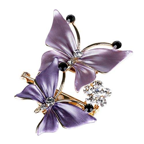 Merdia Elegante Broche De Dos Mariposas Perfecto Para El Vestido Formal y El Vestido De Boda (Púrpura)