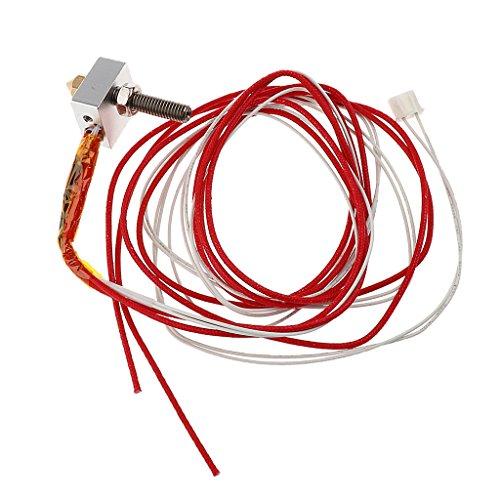 IPOTCH Kit de Extremo Caliente de Extrusora MK8 para Filamento de 1,75 Mm, Boquilla de 0,4 Mm, Calentador de 12 V 24 W