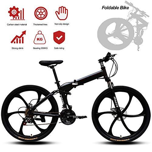 Jjwwhh Adultos Plegable Mountain Bike Bicicletas de Amortiguador portátil Boy Adultos y Hombre Kit Chica de la Bicicleta de la Bicicleta/Negro