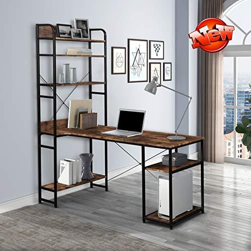 SIXNOWEZQ Enhanced Edition & Stronger 54' Home Office Desk with 5-Tier Bookshelf & Hutch, Industrial Metal Frame Computer Desk Study Writing Desk, Metal Frame PC Desk Laptop Table Workstation (Brown)