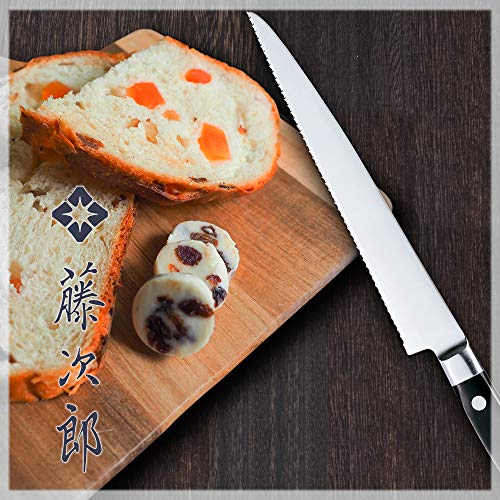 藤次郎パンスライサー215mm日本コバルト合金鋼波刃パンやハムをスライス硬いパンも柔らかいパンも切りやすいDPコバルト合金鋼割込口金付F-828