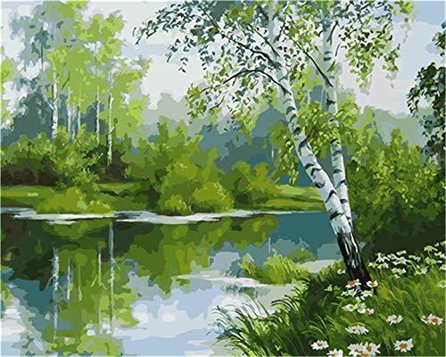 YEESAM ART DIY Ölgemälde Malen nach Zahlen Erwachsene Kinder, Fluss Grün Wald Bäume Landschaft Zahlenmalerei ab 5 Öl Wandkunst (Grün, mit Rahmen)