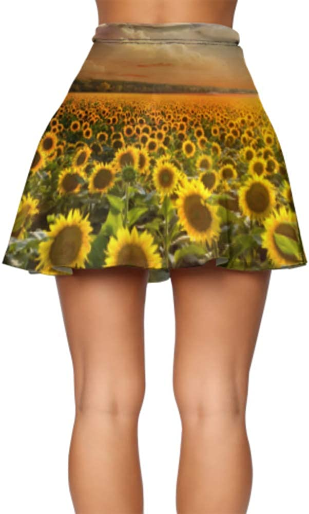Liaosax Mini Skirt Women Beautiful Sunflowers Flare Skirts for Women Women's Basic Casual Skater Skirt Short S-XL