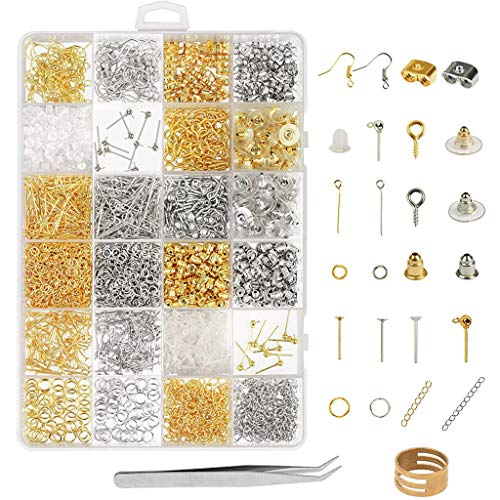 Cuentas para fabricación de joyas, pendientes, fabricación de accesorios, kit de 2418 piezas, colgantes, pendientes de perlas, piezas de reparación, manualidades y artesanía