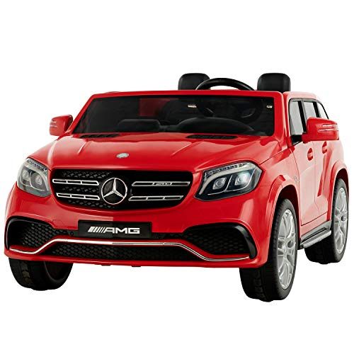 Uenjoy 2 Seater 12V Licensed Mercedes-Benz GLS63 AMG Kids Ride On Car Electric Cars Motorized Vehicles for Kids, with Remote Control, Music, Horn, Spring Suspension,Compatible Mercedes-Benz,red