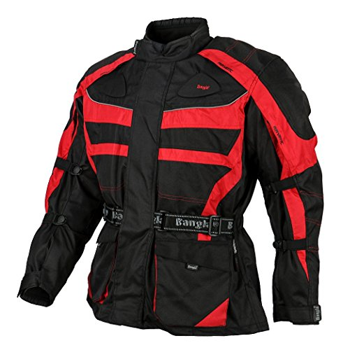 Ledershop-online 1152 Bangla Motorradjacke Tourenjacke Motorrad Schwarz Rot 5XL