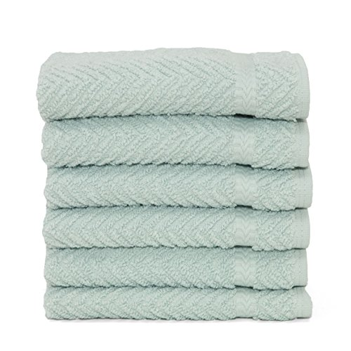 Linum Home Textiles Luxury Hotel & Spa Lot de 6 Gants de Toilette tissés à Chevrons 100% Coton Turc